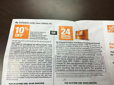 $28.99 • Buy HOME DEPOT: 10% Off Or Up To 24 Month Finance Coupon Exp 01/29/2020