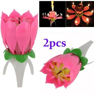 $ CDN4.09 • Buy Magic Cake Birthday Lotus Flower Candle Decoration Blossom Musical Rotating Gift