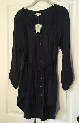 $ CDN26.78 • Buy Meadow Rue Anthropologie Size Medium Rae Pintuck Navy Blue Tunic Button Down New