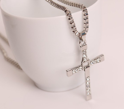 AU2.99 • Buy Men Cross Chain Pendant Cross Crystal Charms Chain Necklace