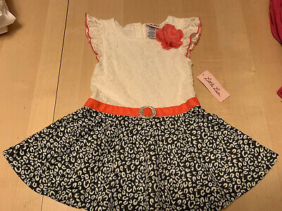 $5.99 • Buy Little Lass Party Dress, Shimmery Belt, Lacy Top/animal Print Skirt, 6x,  NWT!