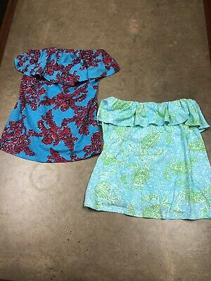 $15 • Buy Lot Of 2 Lilly Pulitzer Ruffle Tube Top Lot Strapless Size Small