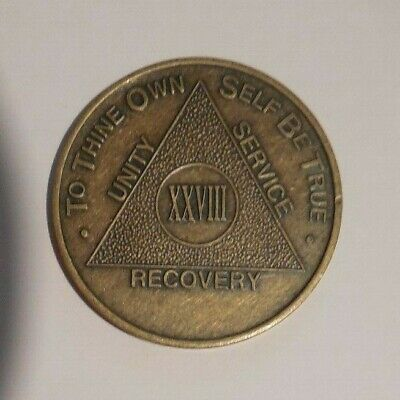 $3.20 • Buy Aa Alcoholics Anonymous Bronze 28 Year Recovery Sobriety Coin Token Medallion