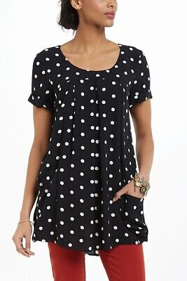 $ CDN28.62 • Buy Anthropologie Holding Horses Sz Large Black White Dot Abstractions Tunic Top