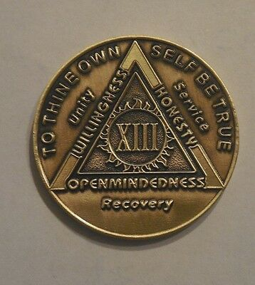 $3.80 • Buy Aa Bronze Alcoholics Anonymous 13 Year Sobriety Chip Coin Token Medallion NEW