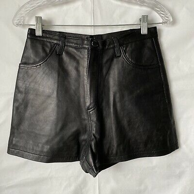 $39.99 • Buy Vintage Black High Rise Leather Shorts Size 8
