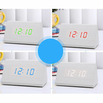 Triangle Wooden LED Digital Alarm Clock Control Calendar Thermometer USB/AAA UK • 7.99£