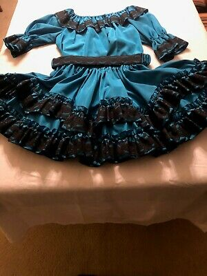 $50 • Buy Square Dance Outfits - Washable Taffeta Turquois With Black Lace Trim