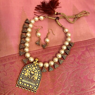 $19.99 • Buy Indian Fashion Jewelry Gold Plated Wedding Bead Necklace Earring Set White Pear