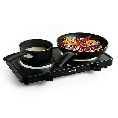 VonShef Hot Plate Double Cooker Hob 2500W Table Top Portable Stainless Steel • 34.99£