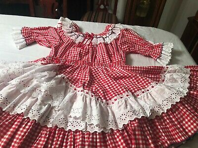 $55 • Buy Square Dance Outfits PRETTY RED/WHITE GINGHAM WITH WHITE EYELET TRIM