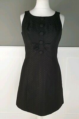 £15.99 • Buy NEXT Dress 14 Black Vintage Look Jackie O Style Knee Length Fitted Smart Fitted