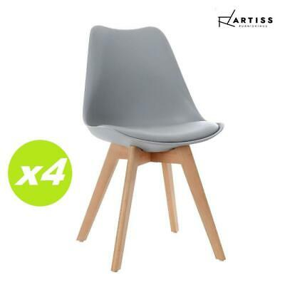 AU105.40 • Buy Artiss 4x Retro Replica Dining Chairs Leather Chair Padded Seat Grey
