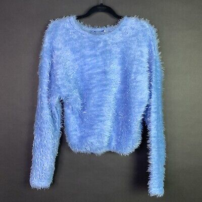$19.99 • Buy NWT Zara Trafaluc Collection Sz S Long Sleeve Fluffy Soft Top Cropped Blue