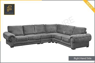 EXTRA EXTRA LARGE Chesterfield Verona CORNER SOFA Formal Full Back Fabric Grey • 889£