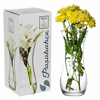 Clear Glass Flower Vase Home Modern Floral Display Table Centrepiece, 25.5 Cm • 5.95£