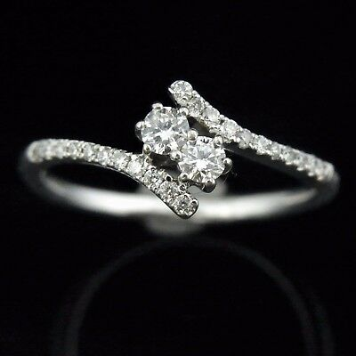 $295.80 • Buy Diamond Ring 14k White Gold  Crossover Bypass Two Stone Promise Estate Jewelry