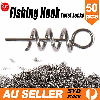 AU9.99 • Buy 50 TwistLock Centering Pin Spring Twist Locks Weedless Fishing Hook Hooks Sporti