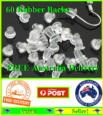 AU2.88 • Buy 60 Rubber Bullet Earring Backs Stoppers Post Clutch Findings Stops Backings NEW