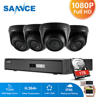 SANNCE 4Channel 5IN1 DVR Vivid 1080P IR Cut CCTV Security Camera System IP66 1TB • 139.99£