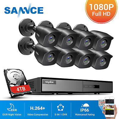 SANNCE 4/8CH 5IN1 1080P DVR IP66 2MP CCTV Security Surveillance Camera System 4T • 129.99£