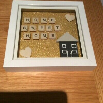 Personalised Home Sweet Home Picture Box Frame Gift Scrabble Letters Lovely! • 13.95£