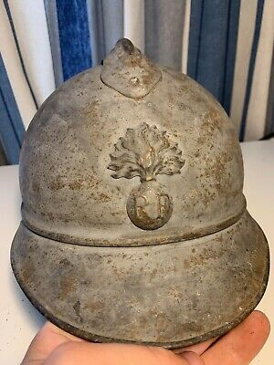 WW1 French Army Adrian Helmet Complete With Liner - Original Naval Paint • 120£