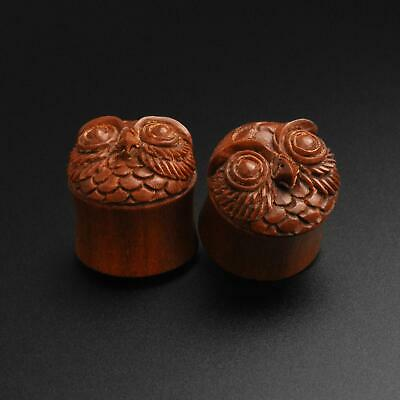$20.72 • Buy Wooden Ear Plugs Gauges | Saba Wood Double Flare Plug With Owl Carving