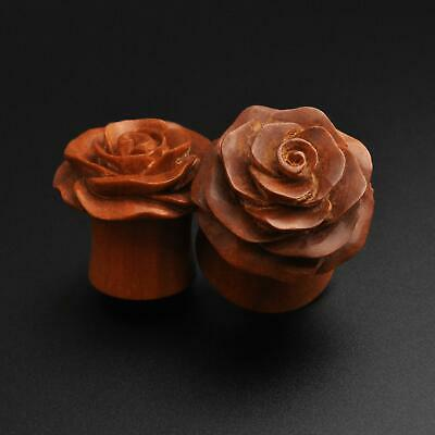 $20.72 • Buy Wooden Ear Plugs Gauges | Saba Wood Double Flare Plug With Rose Bud Carving