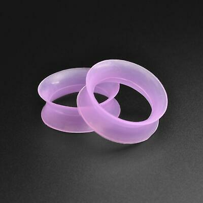 £2.99 • Buy Silicone Flesh Ear Tunnel Gauge   Ultra Thin Purple Silicone Double Flare Tunnel