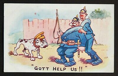 WW1 Postcard Bulldog Soldier German Pickelhaube Helmet • 4.99£