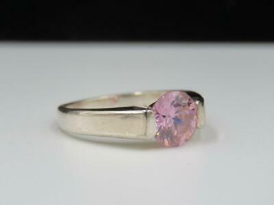 $28 • Buy Charles Winston CW Sterling Silver 3.46ctw Round Pink Ice CZ Solitaire Ring Sz 8