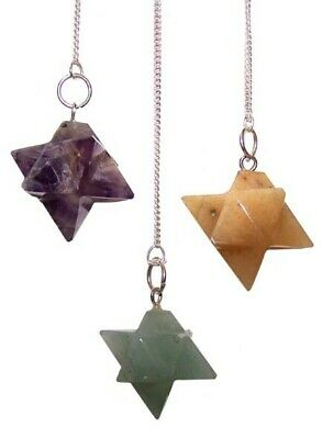 New Merkaba Star Pendulums. Amethyst, Rose Quartz, Yellow Agate, Gift Or Healing • 6.75£