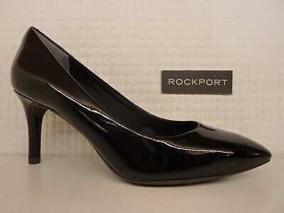 Rockport Total Motion 75mm Plain Toe Pump Black Patent Leather Ladies Heel Shoe • 39.99£