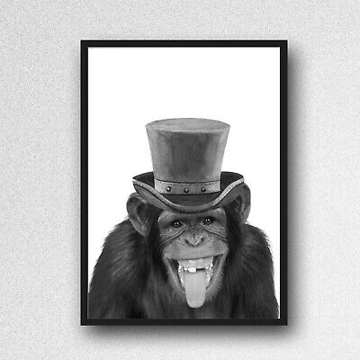 Monkey Chimp PRINT PICTURE Bowler Hat Unframed Wall Art A4 Nursery Black White  • 3.85£