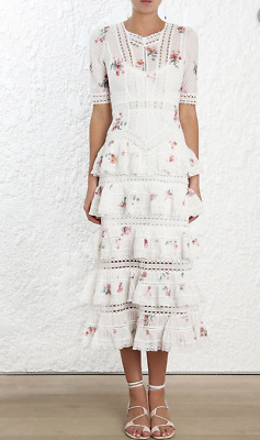 $497.49 • Buy Zimmermann Heathers Dress 0 XS Cotton Dress Frill Floral Lace Midi Short Sleeve