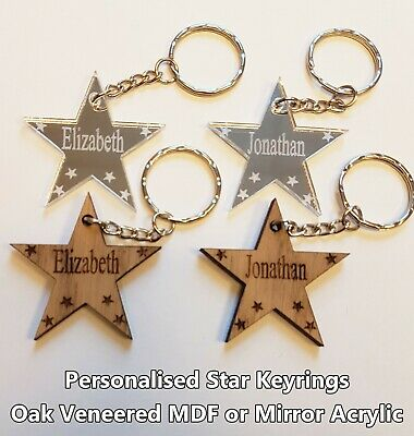 Personalised Star Keyring Wooden Acrylic Gift Custom Bespoke Family Love Couples • 2.50£