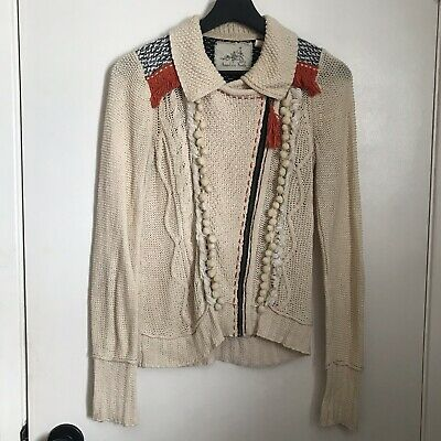 $ CDN58 • Buy Anthropologie Angel Of The North Cardigan Sweater Small Full Zip Knit Boho