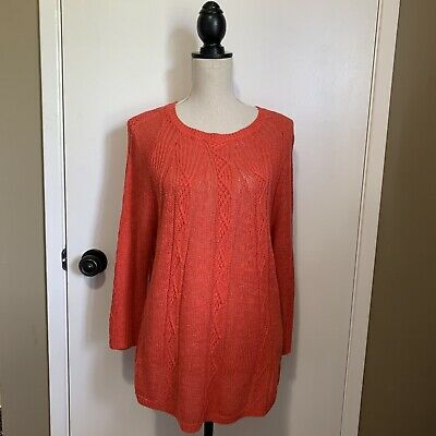 $ CDN38 • Buy Anthropologie Rosie Neira Sweater Large Coral Peach Thin Knit Loose