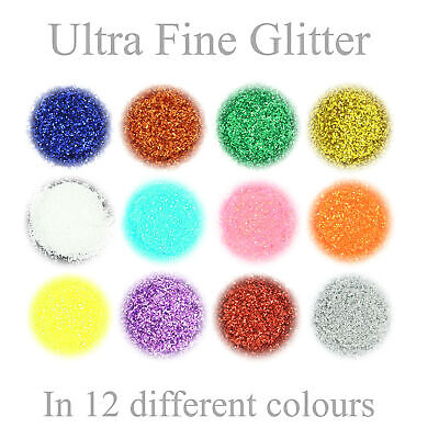 £1.75 • Buy Ultra Fine Glitter 12 Colours Nail Art Wine Glass Face Craft In 3g Pot With Lid