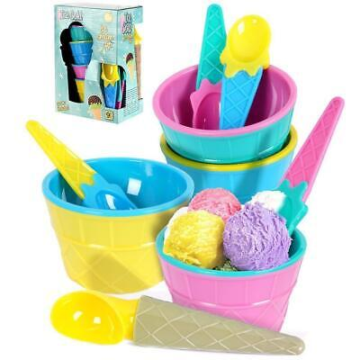 £7.59 • Buy Set Of 4 Ice Cream Spoons And Bowls Set With Scoop Summer Party Dessert Cups