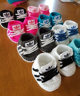Handmade Crochet Baby Shoes For Baby Girls Boys From 0-3month(READ DESCRIPTION) • 5.99£