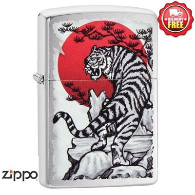 AU51 • Buy Zippo Brushed Chrome Tiger Sun Lighter