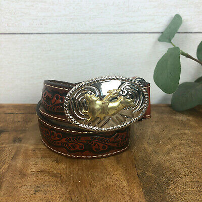 $19.99 • Buy Nocona Western Brown Leather Child's Belt Two Tone Bull Rider Buckle