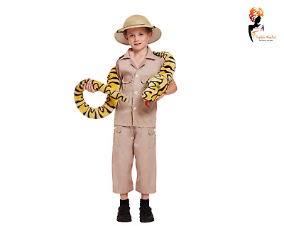 Child Safari Explorer Hunter Keeper Zookeeper Fancy Dress Costume Hunter Outfit • 10.34£
