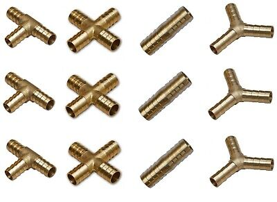 Brass T Piece Y Piece 4 WAY Joiner Fuel Hose Joiner Tee Connector Air Water • 4.71£