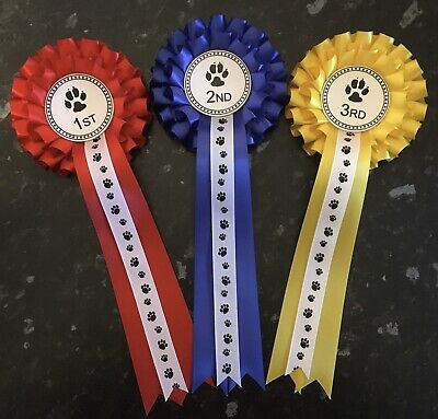 £5.50 • Buy  2 Tier 1st - 3rd Dog Show Rosettes With Printed Tail *FREE POST*