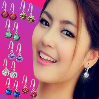 £3.45 • Buy Cute Birthstone Colors Round CZ Crystal Drop Earrings 925 Sterling Silver Plated