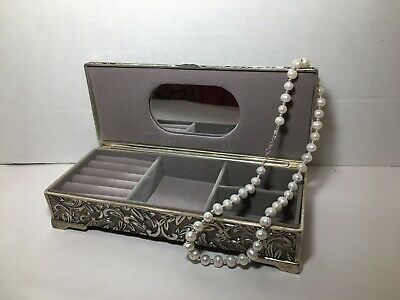$29.99 • Buy Godinger Silverplate Jewelry Box Vintage + Fresh Water Pearl Necklace