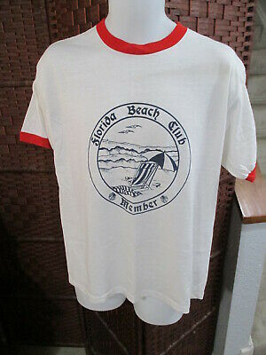 $ CDN20 • Buy Vintage 80's Florida Beach Club T Shirt Ringer 50/50 Adult Size XL Fits Smaller